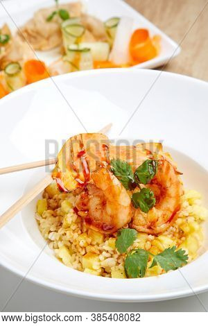 rice with shrimps and pineapple
