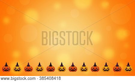 Colorful Halloween Background With Pumpkins Border - 3d Render