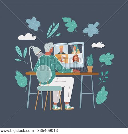 Vector Illustration Of Back View Of Man Talking To Him Colleagues In Video Conference. Business Team