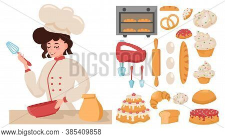 Girl Confectioner Prepares. Young Chef. A Set Of Products And Kitchen Appliances. Vector Illustratio