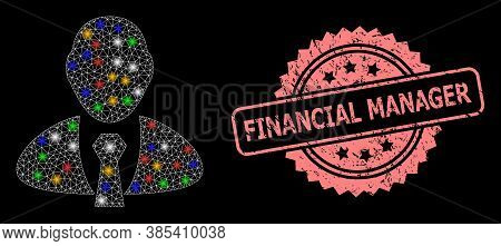 Shiny Mesh Net Manager With Bright Dots, And Financial Manager Scratched Rosette Watermark. Illumina