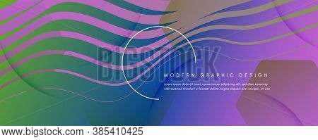Flow Geometric Abstract. Color Gradient Shapes Background. Colorful Creative Brochure. Memphis Futur