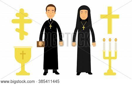 Christian Religion Attributes With Man Dressed In Priest Long Garment And Cross Vector Set