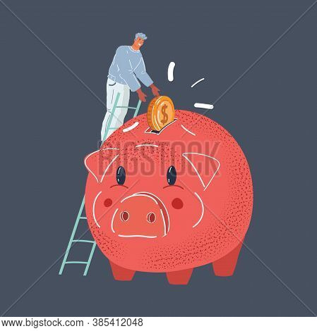 Vector Illustration Of Man Put Big Coin In Giant Red Piggy Bank On Dark Backround.