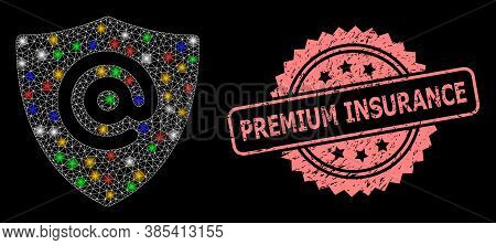 Bright Mesh Web Email Address Shield With Glowing Spots, And Premium Insurance Unclean Rosette Seal