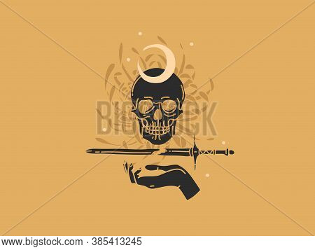 Hand Drawn Vector Abstract Stock Flat Graphic Illustration With Logo Elements , Skull, Sword And Flo