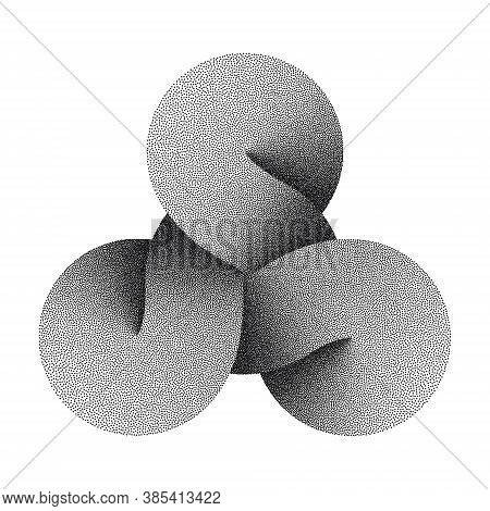 Stippled Triquetra Knot Sign Made Of Three Combined Disks. Textured Modern Stylization Of Celtic Tri