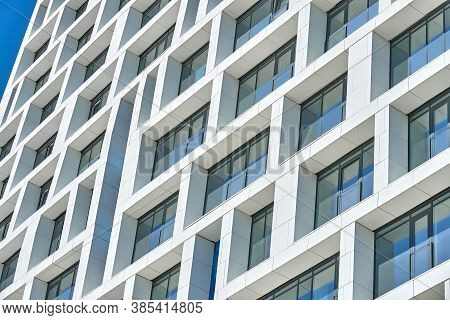 Facade Of Contemporary City Building With Geometric Shapes