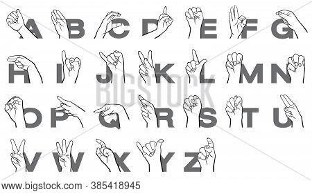 Hand Sign Language Alphabet Letter Collection Vector Illustration.