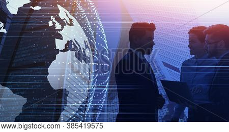 Global Business Network. Silhouettes Of Business People Over Modern Cityscape Background With Globe