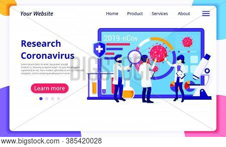 Research Laboratory Concept For Covid-19 Corona Virus With Scientists Working At Medicine Laboratori