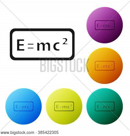 Black Math System Of Equation Solution Icon Isolated On White Background. E Equals Mc Squared Equati