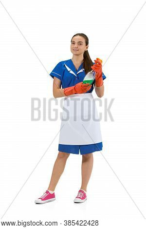 Cleaner Using. Portrait Of Female Made, Housemaid, Cleaning Worker In White And Blue Uniform Isolate