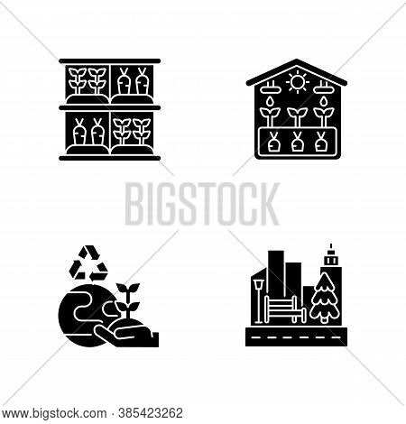 Ecological Production Flat Design Long Shadow Glyph Icons Set. Vertical Garden. Greenhouse Professio