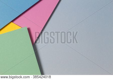 Abstract Color Papers Geometry Flat Lay Composition Background With Blue, Green, Pink, Purple, Yello