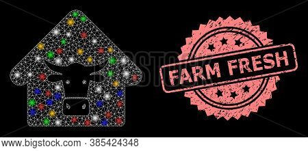 Glare Mesh Network Cow Farm With Lightspots, And Farm Fresh Corroded Rosette Stamp. Illuminated Vect