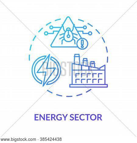 Energy Sector Concept Icon. Critical Infrastructure Protection Idea Thin Line Illustration. Hacking.