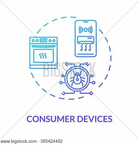 Consumer Devices Concept Icon. Cybersecurity Weaknesses. Wireless Network Connectivity Idea Thin Lin