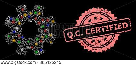 Glowing Mesh Network Cog Gear With Glowing Spots, And Q.c. Certified Textured Rosette Watermark. Ill