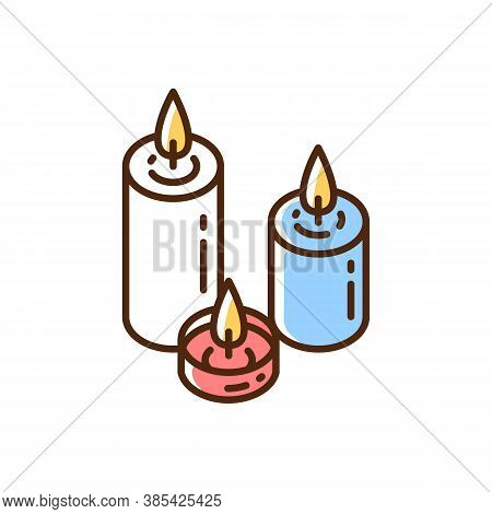 Candlelight Rgb Color Icon. Atmosphere Changing. Hygge Element. Romantic Mood. Home Decoration. Burn