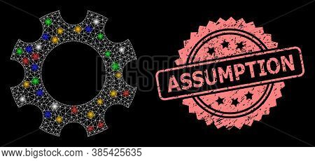 Glare Mesh Net Cogwheel With Light Spots, And Assumption Unclean Rosette Stamp. Illuminated Vector M