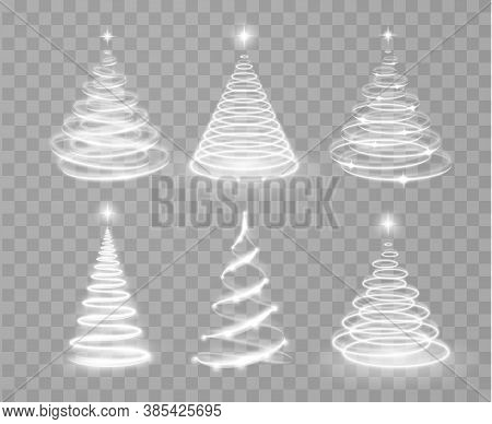 Shiny Magic Christmas Light Tree Collection. Shiny Lights Sparkles. Merry Christmas And Happy New Ye
