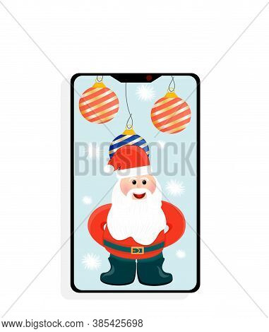 Santa Claus In A Smartphone Is Isolated On A White Background. Santa Claus With Balloons Congratulat