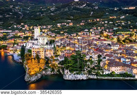 Aerial Night View Of Scaliger Castle In Malcesine - Lake Garda, Northern Italy