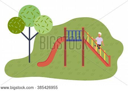 Game Red Slide With Stairs, Railing. Slide Down The Hill. Game Children S Equipment. Child Climbing