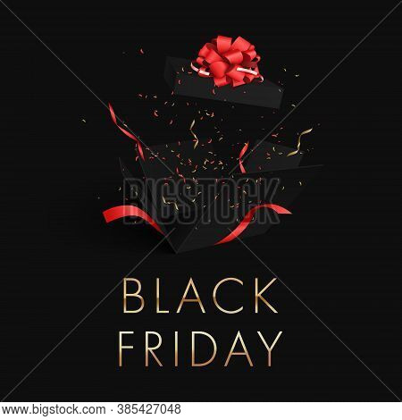 Black Friday Gold Letters On A Black Background Banner. Explosion Of A Black Gift Box. Flying Confet