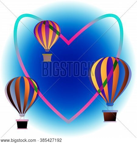 Colorful Hot Air Balloons Floating In Sky. Bright Sky Background. Heart Contour Connects Balloons. F