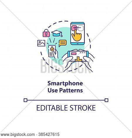 Smartphone Use Patterns Concept Icon. Users Identification. Identification With Phone Usage Technolo