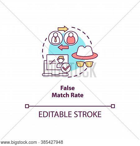 False Match Rate Concept Icon. Invalid Person Identification. Bad Verification System. Biometrics Pr