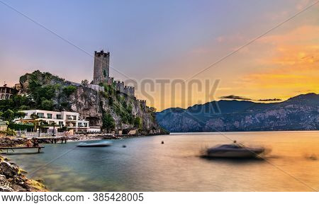 Evening View Of Scaliger Castle In Malcesine - Lake Garda, Northern Italy