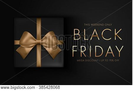 Black Friday Sale Background With Gift Box. Modern Design. Banner, Poster, Golden Text Color On Dark