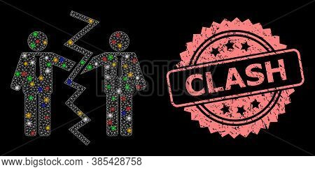 Glowing Mesh Net Businessmen Divorce With Bright Dots, And Clash Unclean Rosette Seal Imitation. Ill