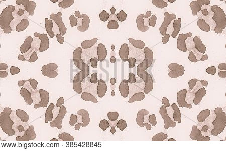 Seamless Leopard Artwork. Watercolour Jaguar Skin Texture. Brown Spotted African Ornament. Color Mat