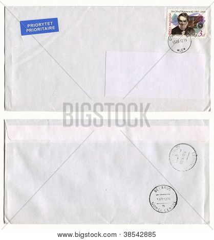 POLAND- CIRCA 2011: Mailing envelope with postage stamps dedicated to Jan Josef Baranowski, and the reverse side, circa 2011.