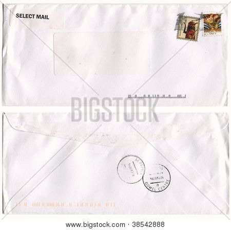 USA - CIRCA 2012: Mailing envelope with postage stamps dedicated to American toleware and Wisdom, Rockfeller Center, and the reverse side, circa 2012.