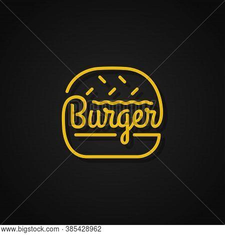 Burger Linear Logo. Yellow Burger On Background