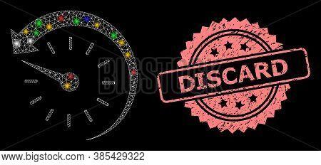 Shiny Mesh Web Time Backward With Lightspots, And Discard Grunge Rosette Seal Print. Illuminated Vec