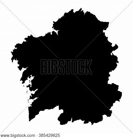 The Galicia Region Dark Silhouette Map Isolated On White Background, Spain