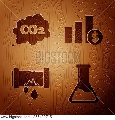 Set Test Tube And Flask, Co2 Emissions In Cloud, Broken Metal Pipe With Leaking Water And Pie Chart