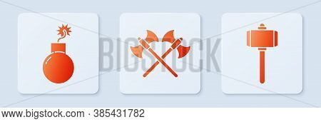 Set Crossed Medieval Axes, Bomb Ready To Explode And Battle Hammer. White Square Button. Vector
