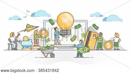 Crowdfunding Financial Investment For Startup Innovative Idea Outline Concept. Collective Money Fund