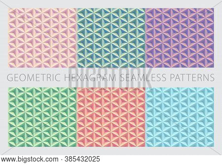 Geometric Hexagram Shapes Seamless Patterns. Pastel Color Set. Peach-puff, Green, Lavender, Pale-gre