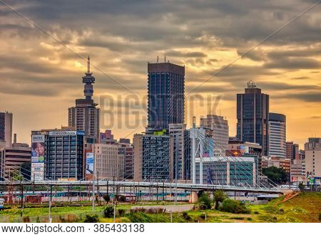 Johannesburg, South Africa, 11.30.2012, skyline of the city at sunset