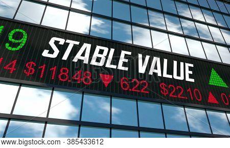 Stable Value Fund Stock Market Ticker Building Exterior 3d Illustration
