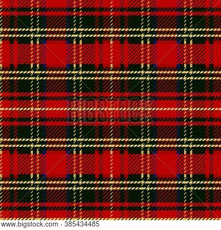Cute Punk Red Plaid Vector Seamless Pattern. Checkered Scottish Flannel Print For Celtic Home Decor.