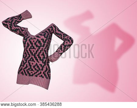 Conceptual fat overweight obese shadow female sweater dress vs slim fit healthy body after weight loss or diet thin young woman on pink. A fitness, nutrition or obesity health shape 3D illustration